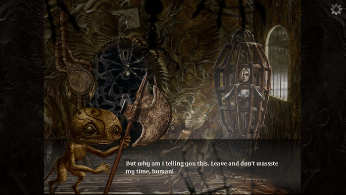 "In game: A dungeon with a woman trapped in a small cage that hangs from the ceiling. A strange looking demon statesL ""But why am I telling you this. Leave and don't wassste my time, human!"""