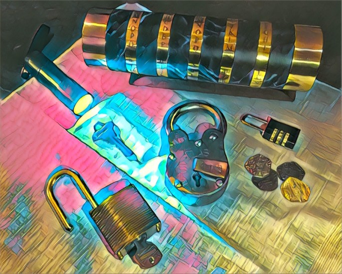 An assortment of locks, keys, pirate treasure, a blacklight, and a cryptex in a stylaized image.