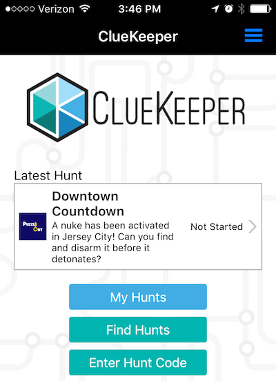 In-game: The start screen for accessing Downtown Countdown within the ClueKeeper app.