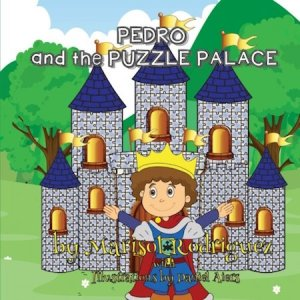 Cover art. Young Pedro standing in front of a castle made of puzzles.