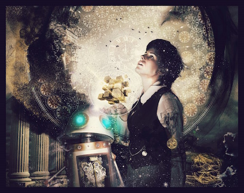 An illustration of steampunk robot Babbage and inventor / adventurer Luna Fox.