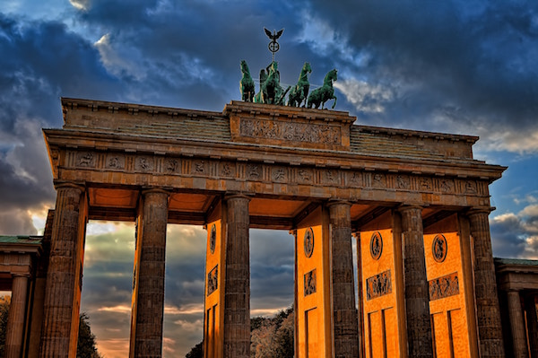 The Brandenburg Gates at sunset.