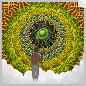 In-game: a beautiful multicolored series of circular repeating patterns surrounding an eye.