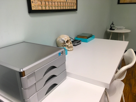 In-game: A stark white desk with a filing system and a skull resting upon it.
