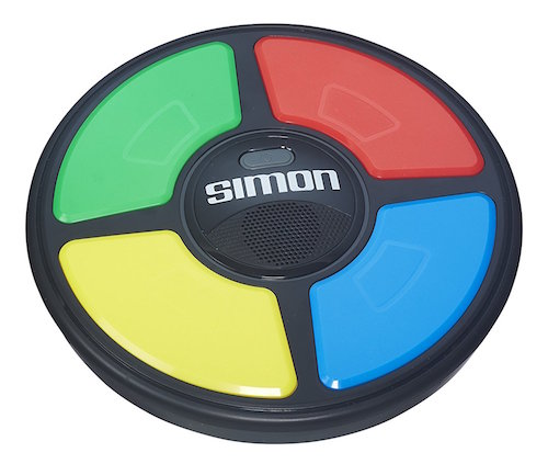 A simon game with green, yellow, red, and blue buttons arranged in a circle.