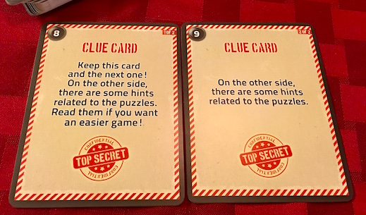 The backside of the clue cards for Deckscape.