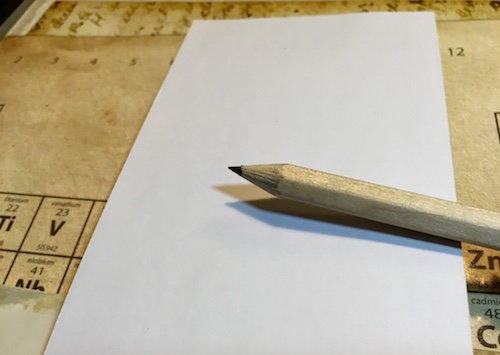 In-game: a pad of paper and a pencil.