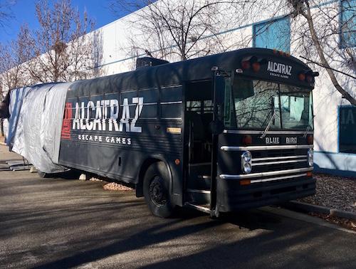 The Alcatraz Escape Bus. An old Blue Bird school bus pained black.