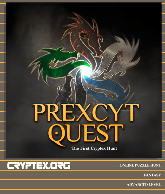 Prexcyt Quest Cryptex hunt promo image, looks like the cover to an old RPG campaign book.