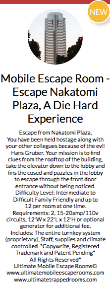 Teaser text for a Mobile Escape Nakatomi Plaza, A Die Hard Experience game.
