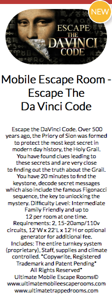 Teaser text for a Mobile Escape The Da Vinci Code game.