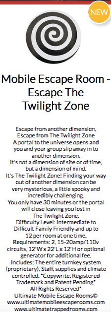 Teaser text for a Mobile Escape The Twilight Zone game.