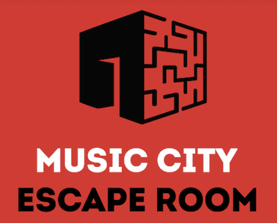Music City Escape Room Logo, a cube with a door and a maze.