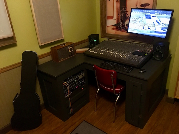 In-game: A music studio's mixing station.