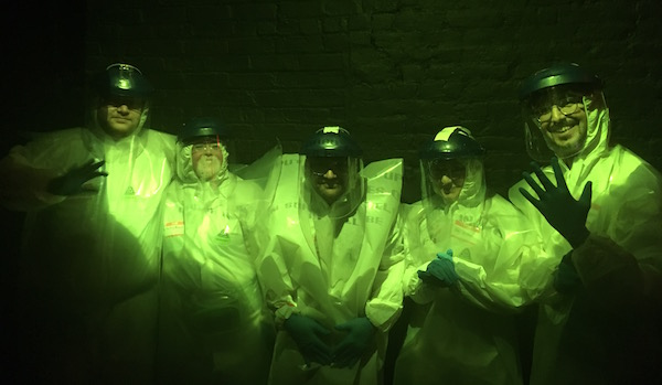 In-game: The team in extra protective gear before the bomb.