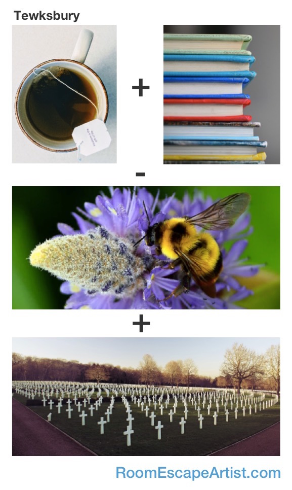 Tewksbury Rebus: Tea + Books - Bee + Bury