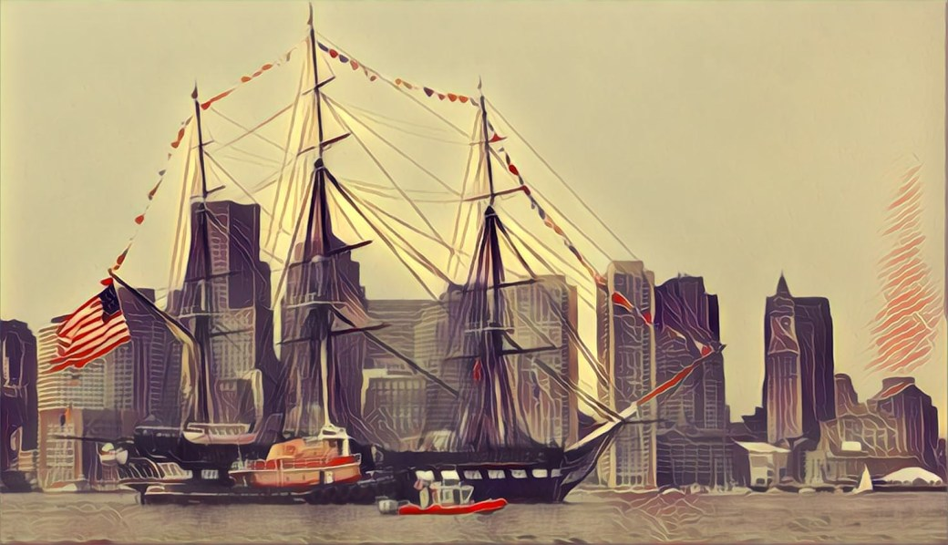 Stylized image of the USS Constitution in Boston Harbor.
