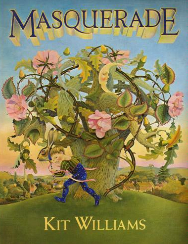 MASQUERADE's cover a boy with a rabbit mask running around a flowering tree.
