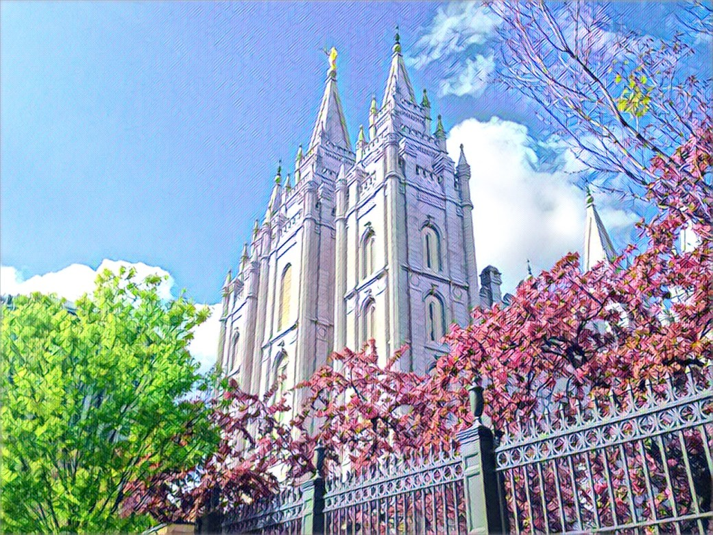 Stylized image of the cathedral at Temple Square in Salt Lake City.