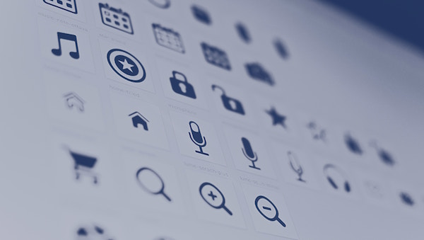 An assortment of icons displaying on a screen.
