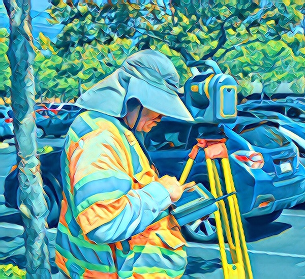 Stylized photo of a land surveyer in a parking lot.