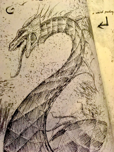 An intricate sketch of a long-necked dragon-like sea monster.
