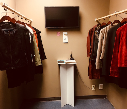 In-game: a coat check closet.
