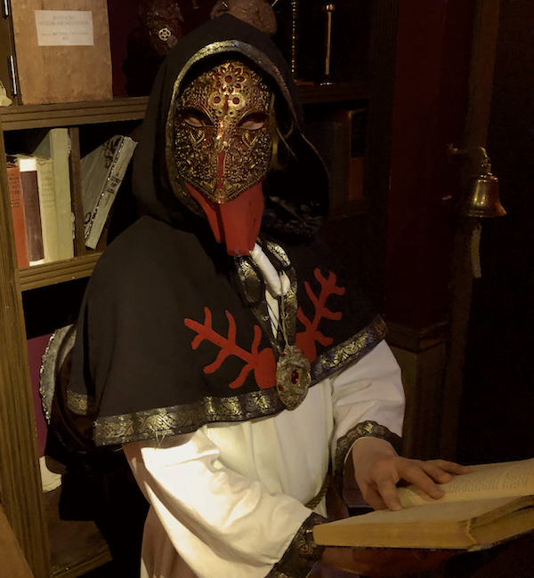 In-game: The Knight of the Order cloaked in black, red, and white with an ornate gold and red mask reading a book.