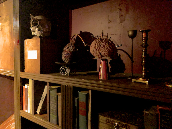 In-game: A self in the library with an augmented skulls, brain, and heart.