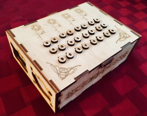 In-game: a beautiful, intricate laser engraved/ laser cut wooden puzzle box.