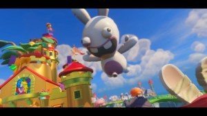 A giant balloon in the shape of a Rabbid looms over Princess Peach's castle. The Rabbid takeover is complete...