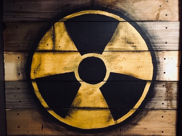 In-game: A wooden door with a nuclear symbol painted on.