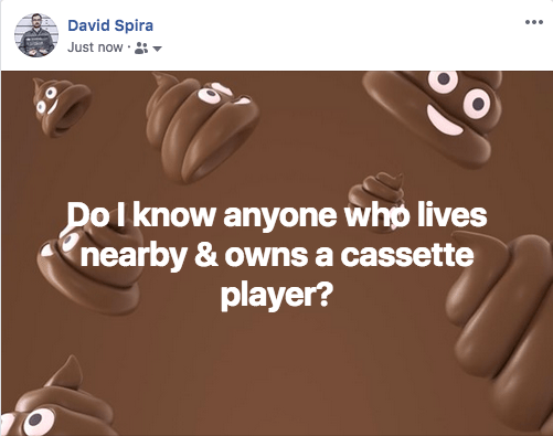 David's Facebook post with a poop emoji background asking,