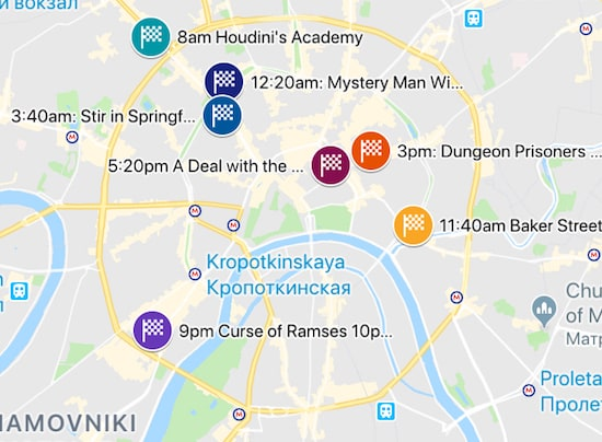 Map of the 7 Claustrophobia locations in Moscow that will be involved in the record attempt.