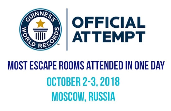 Most Escape Rooms attended in one day, Guinness World Records logo.