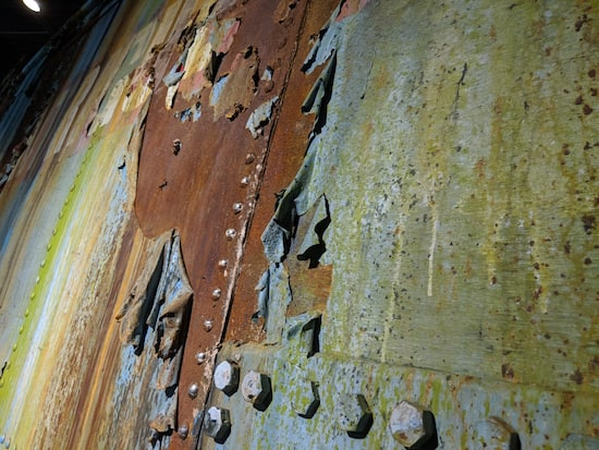 A close up of the ship in the Museum of Intrigue's heavily weathered texture.