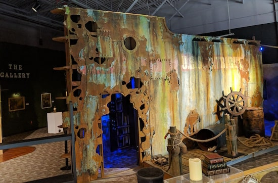 The exterior of the sunken ship in the Museum of Intrigue.