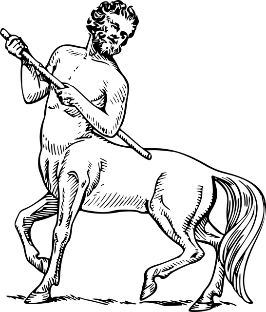 Drawing of a centaur, half man, half horse.