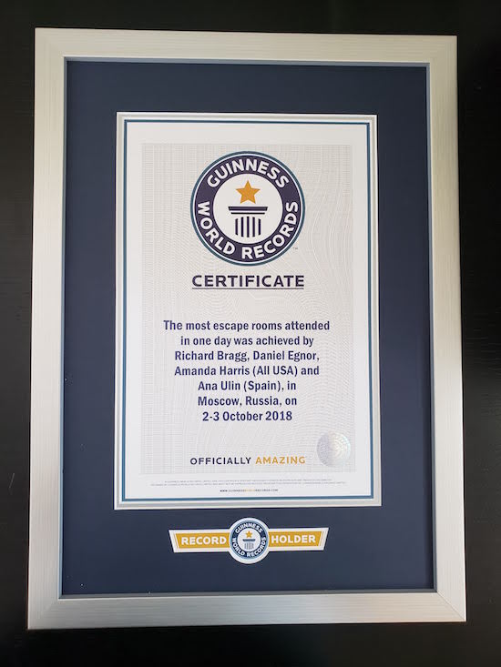 Guinness World Record certificate for most escape rooms in one day.