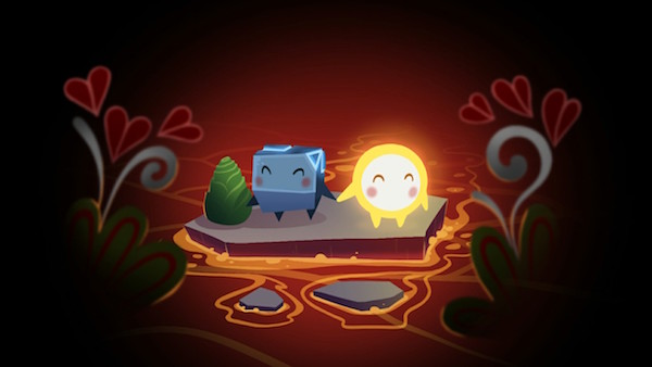 Glo and Bulder blushing holding hands on a stone in the middle of lava.