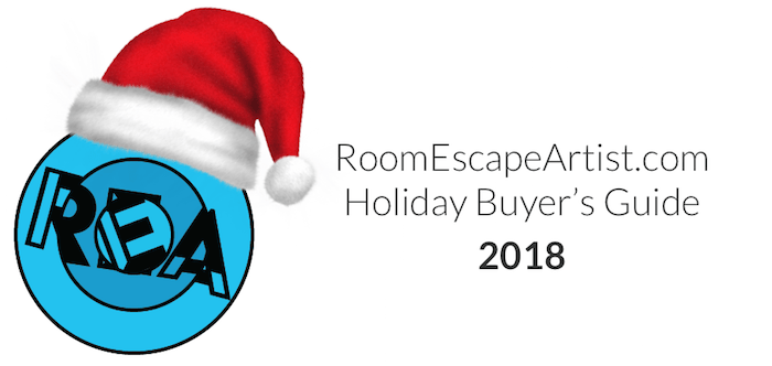 Room Escape Artist Holiday Buyer's Guide 2018 masthead, features the REA logo with a Santa hat.