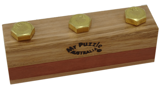 "3 bolts protruding from an elegant block of wood labeled, ""Mr Puzzle Australia"""