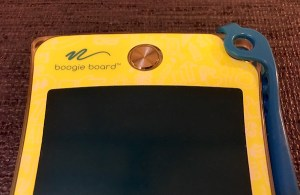 A small translucent boogie board.