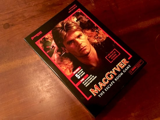 MacGyver The Escape Room Game box, featuring a photo of MacGyver.