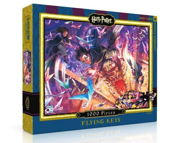 A 1000 piece Harry Potter flying keys puzzle, depicts the book's hero's riding broomsticks and trying to catch flying keys.