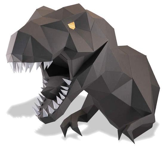 A geometric papercraft tyrannosaurus rex bust.