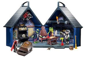 Playmobile Haunted House includes dracula in a coffin, dr frankenstein, and frankenstein's monster.