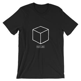 A black shirt with the white outline of a black cube.