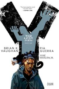 Cover for Y the last man volume 1, features Yorick and Ampersand.