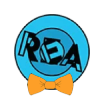 REA logo with an orange bowtie.